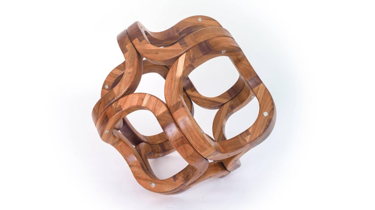Contemporary Mexican Handcrafted Tzalam Wood Geometric Octahedron Sculpture For Sale 4