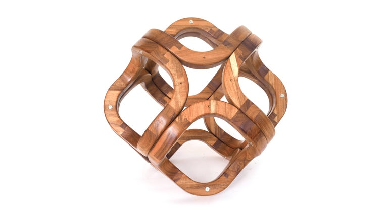 Walnut Contemporary Mexican Handcrafted Tzalam Wood Geometric Octahedron Sculpture For Sale