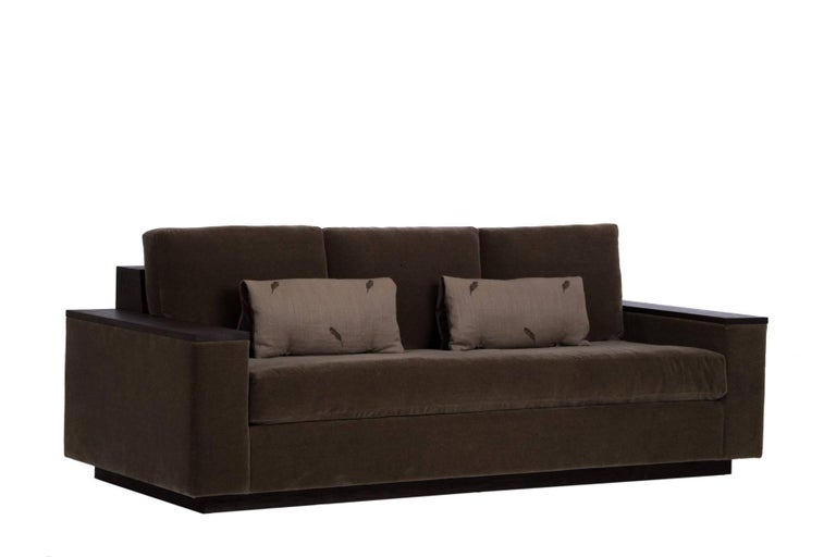 Designed by Ashley Yeates, handmade in the United States, the mohair Bolton sofa is perfect for comfort and entertaining. The North American cherry hardwood surfaces are ideal for resting a fine wine or media device. A must have for a small space