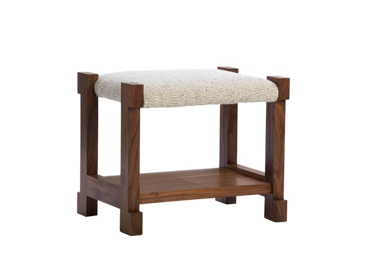 Designed by Ashley Yeates, the H design Herman stool is heavy, solid, classic design inspired by the designers love for Hermes, the United States handmade stool provides storage underneath for magazines and blankets, use to flank a fireplace and