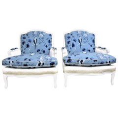 Pair of French Bergère Armchairs in White Lacquer and Designers Guild Jacaranda