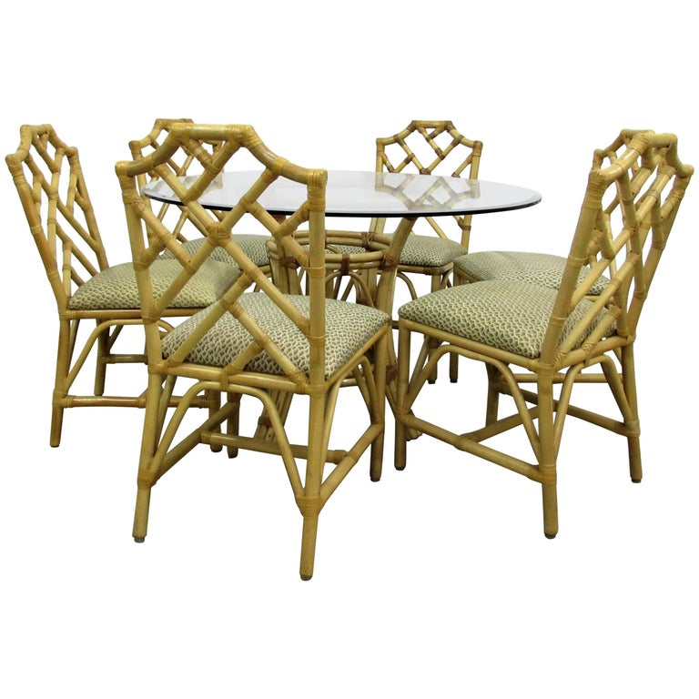 McGuire Chinese Chippendale Bamboo Rattan Chairs and Round Table, Set