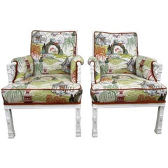 Pair of Toile Chinoiserie and Faux Bamboo Armchairs