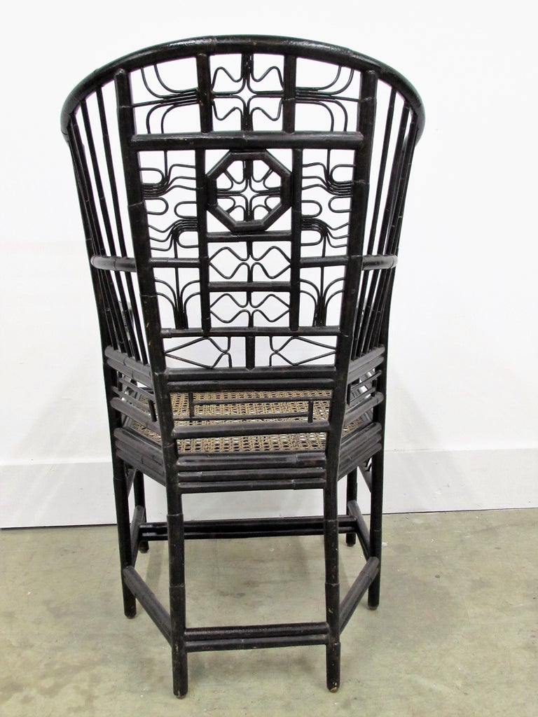 American Ebonized Brighton Pavilion Highback Chinese Chippendale Armchair For Sale