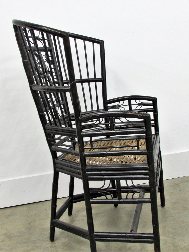 Ebonized Brighton Pavilion Highback Chinese Chippendale Armchair In Excellent Condition For Sale In Raleigh, NC