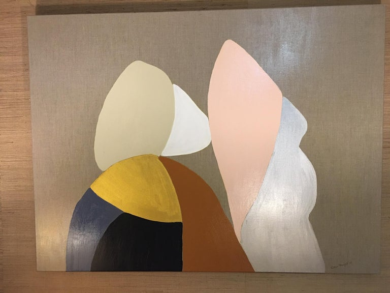 This is an original abstract painting by Raleigh artist Ellan Maynard. It measures 48 x 36 and features gold, paynes gray, blush, gold, silver, ochre and tan. Ready to hang. Unframed.