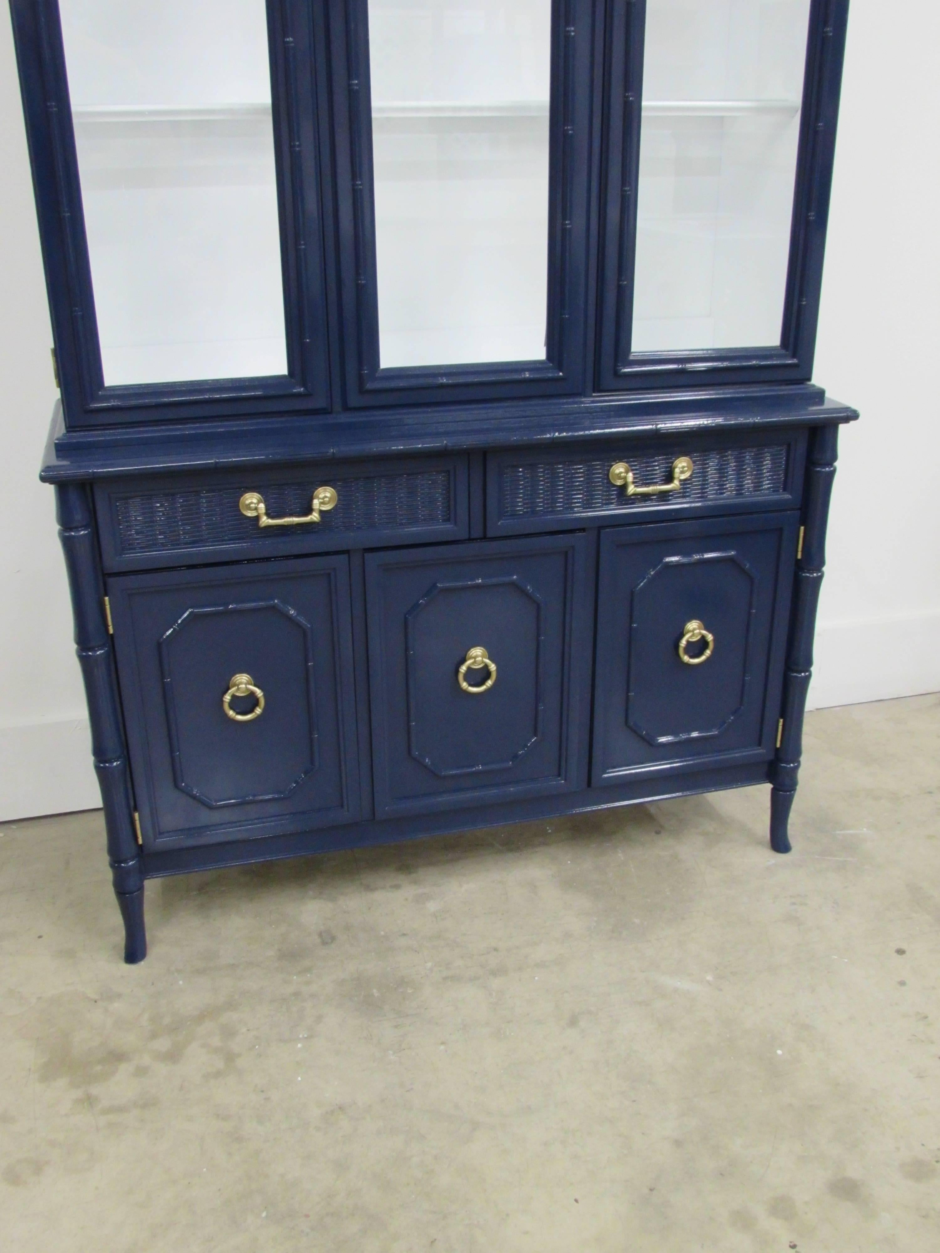 Lacquered Broyhill Lenoir House Faux Bamboo Chest And Hutch For Sale