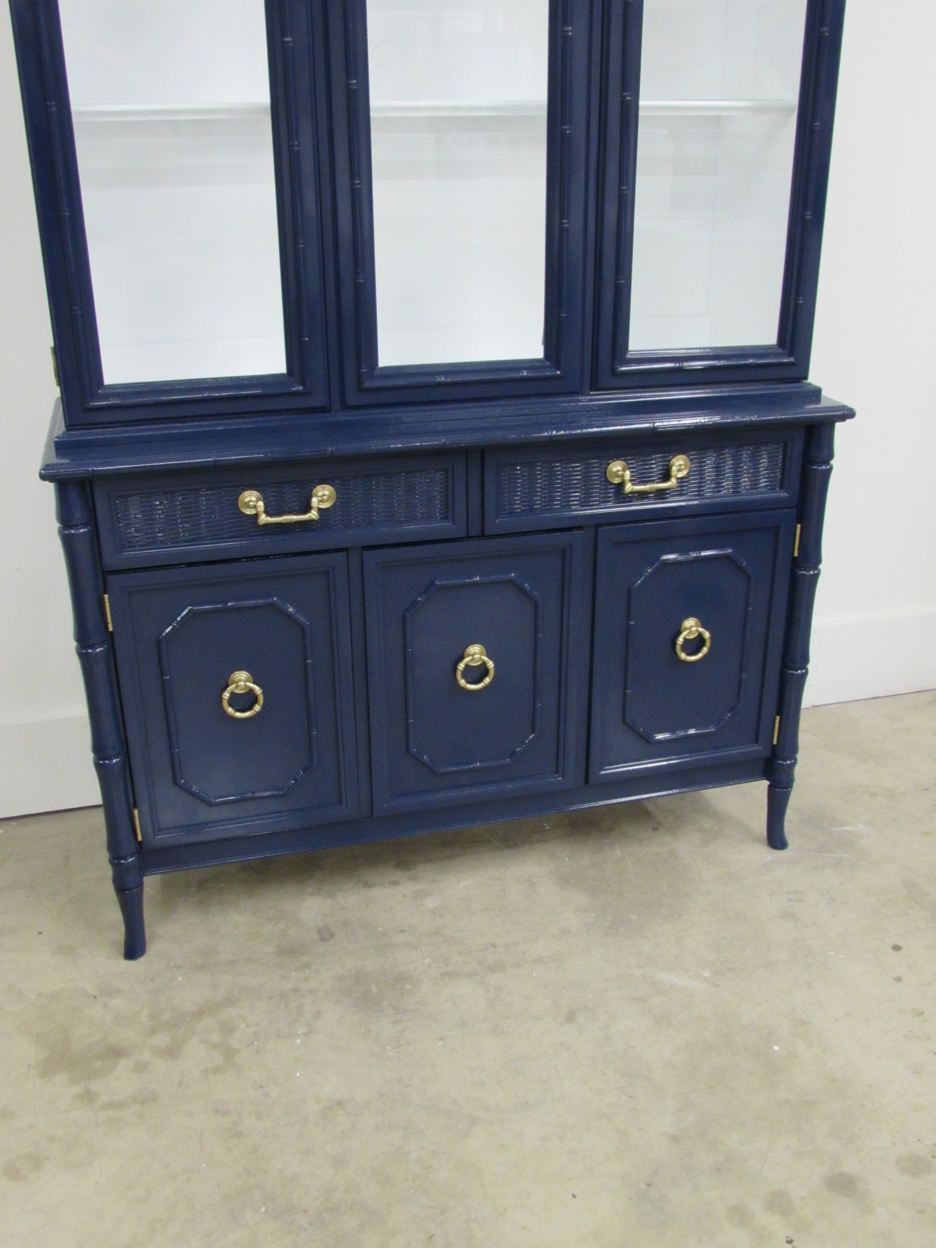 Broyhill Lenoir House Faux Bamboo Chest And Hutch At 1stdibs