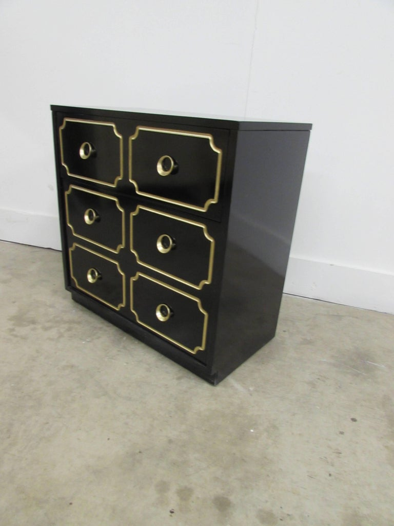 American Dorothy Draper España Inspired Black Lacquered Chest For Sale