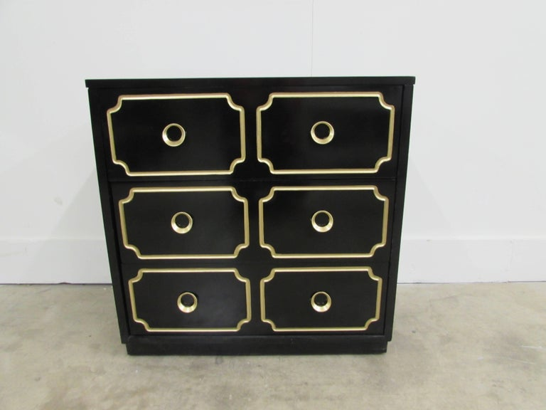 Dorothy Draper España inspired black lacquered chest.