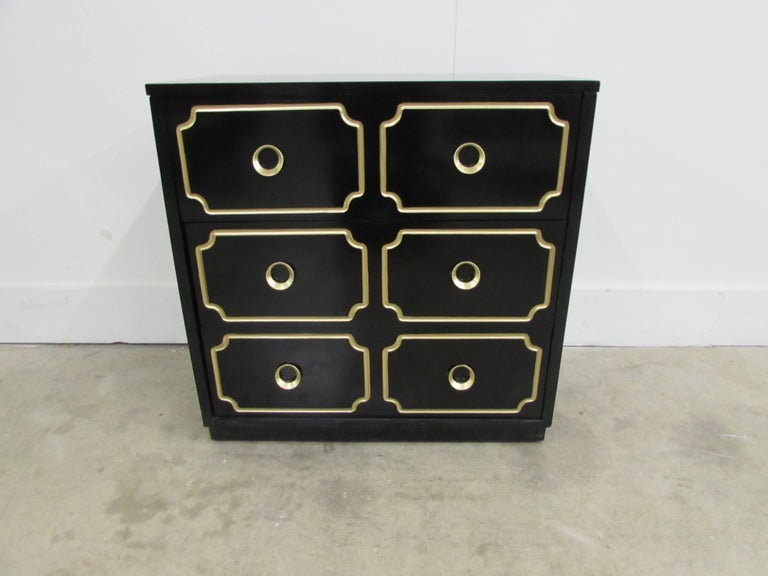 Hollywood Regency Dorothy Draper España Inspired Black Lacquered Chest For Sale