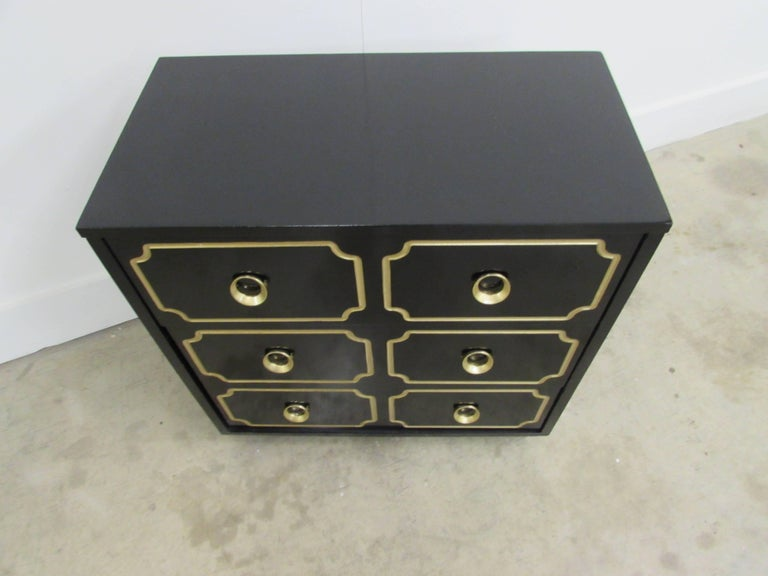 Dorothy Draper España Inspired Black Lacquered Chest In Excellent Condition For Sale In Raleigh, NC
