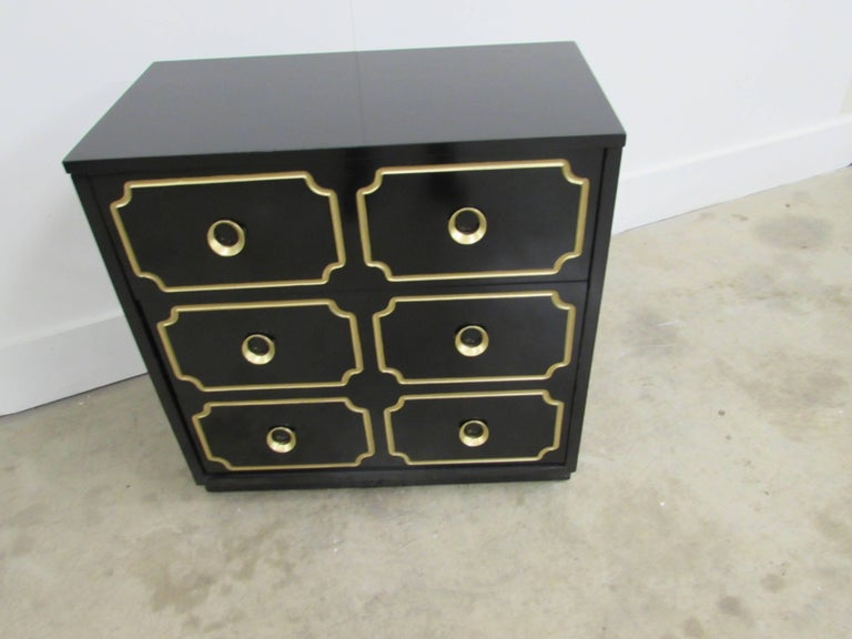 20th Century Dorothy Draper España Inspired Black Lacquered Chest For Sale