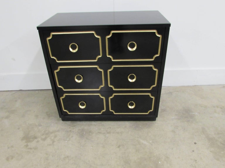 Ash Dorothy Draper España Inspired Black Lacquered Chest For Sale
