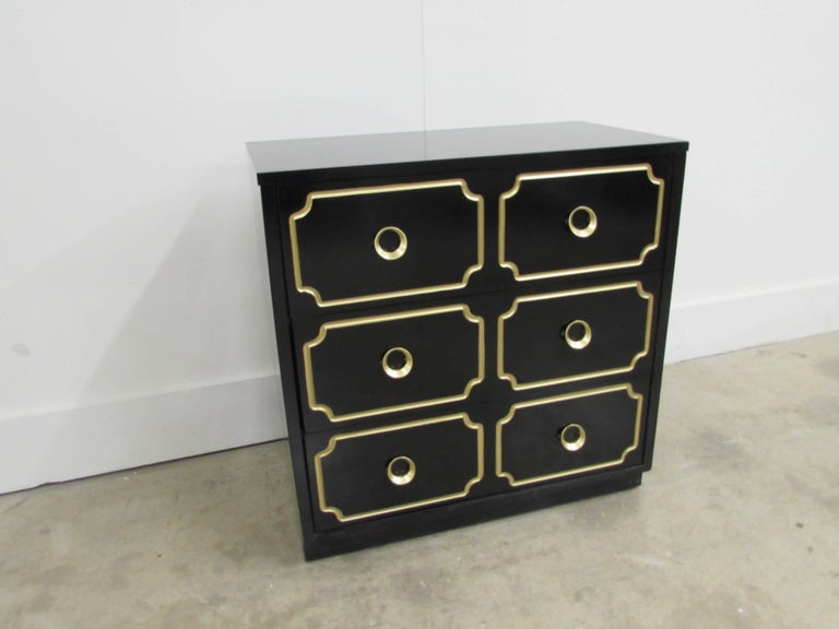 Dorothy Draper España Inspired Black Lacquered Chest For Sale 1