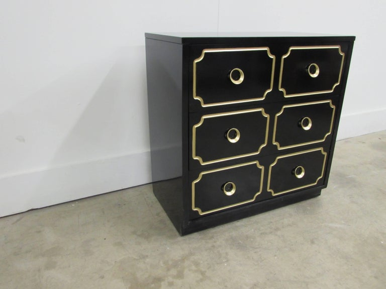 Dorothy Draper España Inspired Black Lacquered Chest For Sale 2