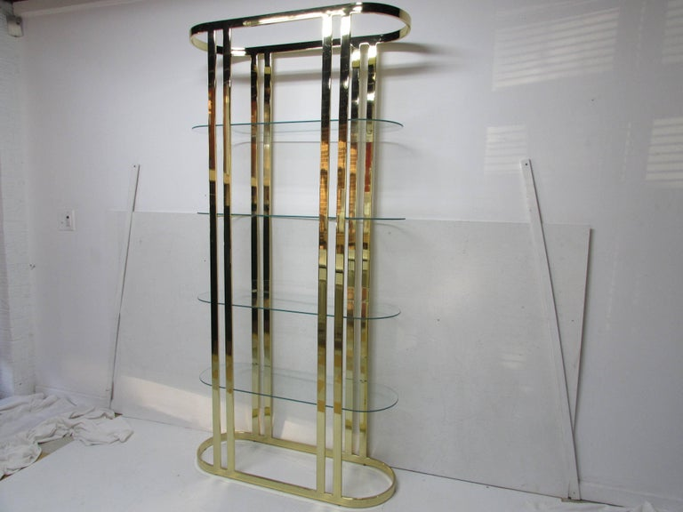 Hand-Crafted Milo Baughman Midcentury Brass Étagère For Sale