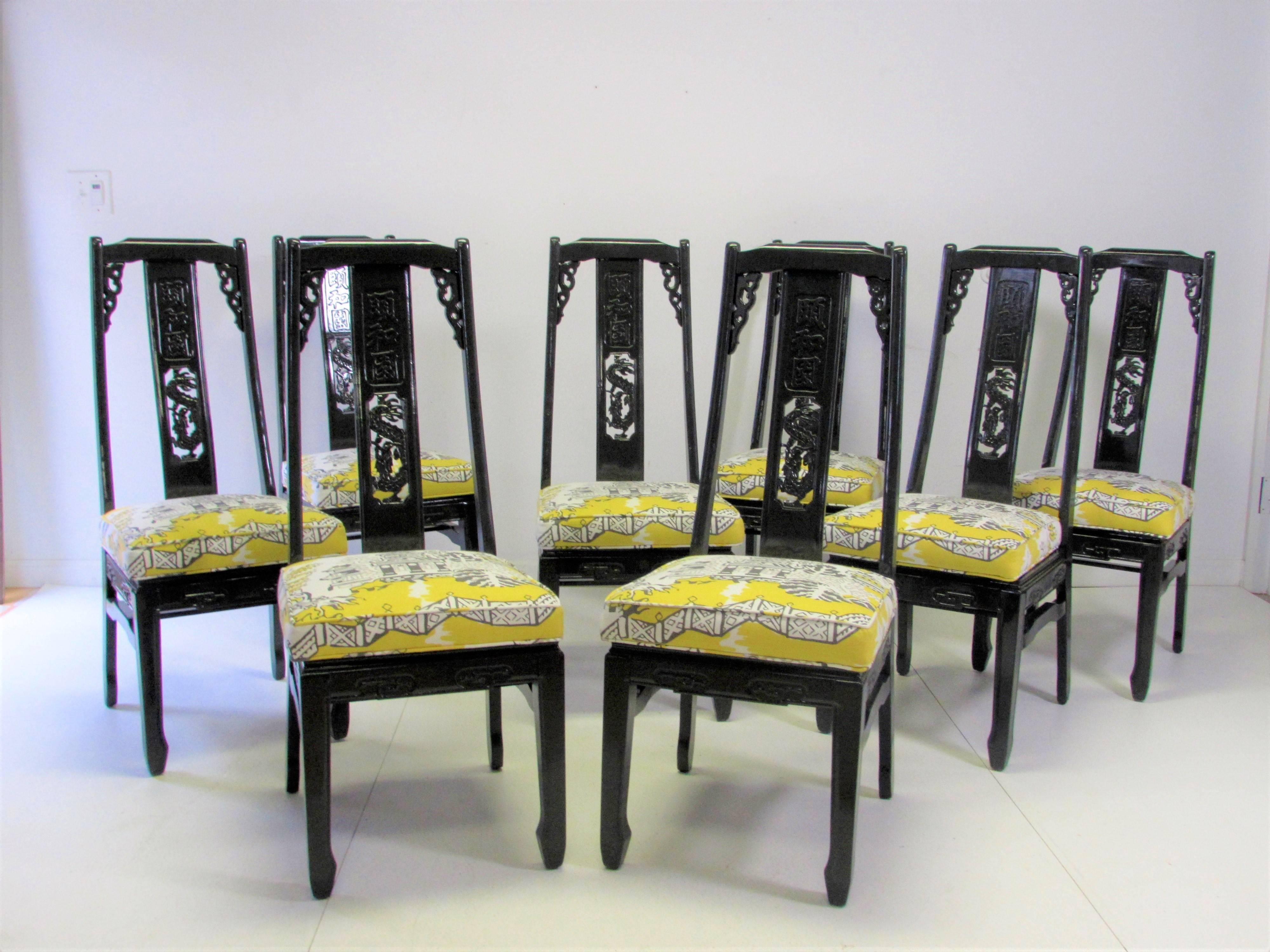 Set Of Eight Vintage Asian Inspired Dining Chairs With A Splat Back Carving  In