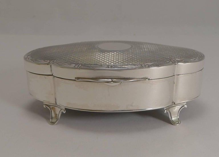 Antique English Sterling Silver Jewelry Box by Goldsmiths and Silversmiths  Co