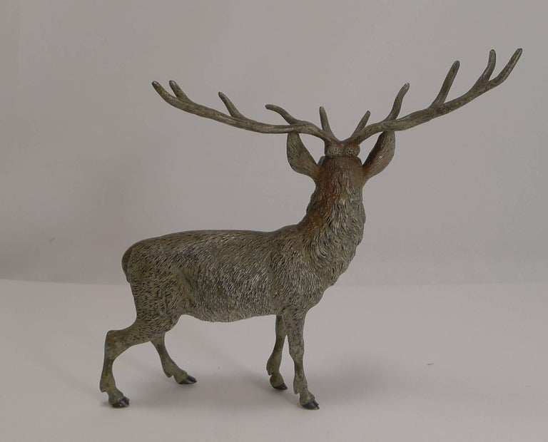Late Victorian Large Antique Austrian Cold Painted Bronze Stag Figure c.1890 For Sale