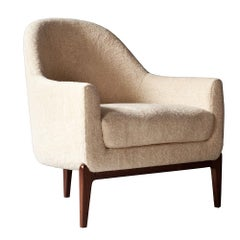 Treble Side Chair by DeMuro Das with Curved Back and Walnut Legs