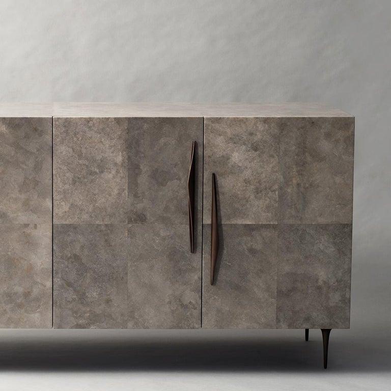 Art Deco Antwerp Cabinet by DeMuro Das in Solid Antique Bronze and Grey Carta For Sale