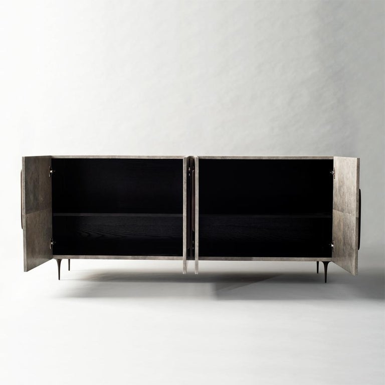 Contemporary Antwerp Cabinet by DeMuro Das in Solid Antique Bronze and Grey Carta For Sale