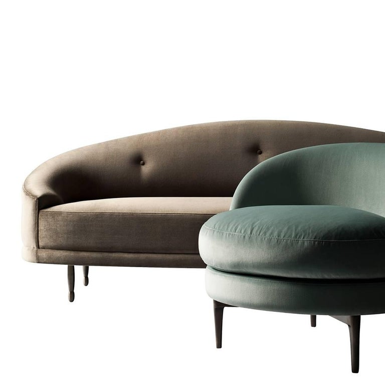 Modern Claire Sofa or Settee by DeMuro Das with Solid Antique Finish Bronze Legs For Sale