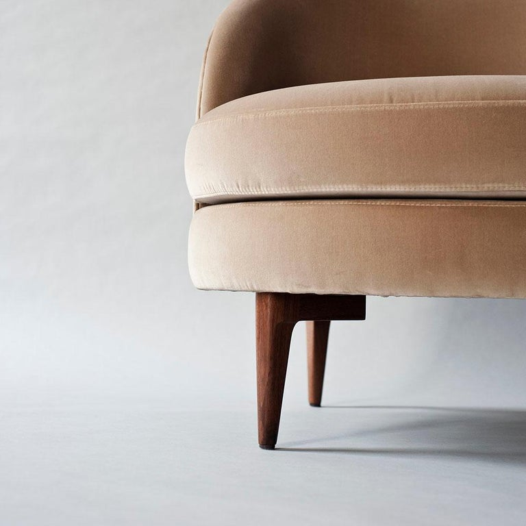 Contemporary Belle Side Chair by DeMuro Das with Walnut Legs For Sale