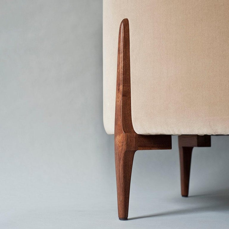 Upholstery Belle Side Chair by DeMuro Das with Walnut Legs For Sale