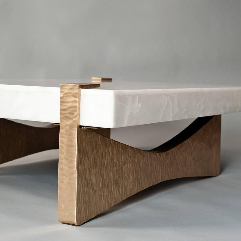 Brutalist Moore Coffee Table by DeMuro Das in White Onyx with Beaten Bronze Finish Base For Sale