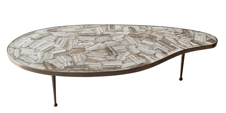 Mid-Century Modern Lola Coffee Table by DeMuro Das in Banded White Agate and Brass For Sale