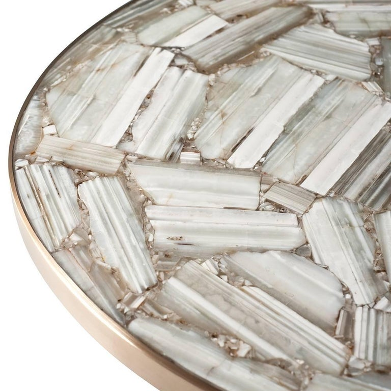 Cast Lola Coffee Table by DeMuro Das in Banded White Agate and Brass For Sale