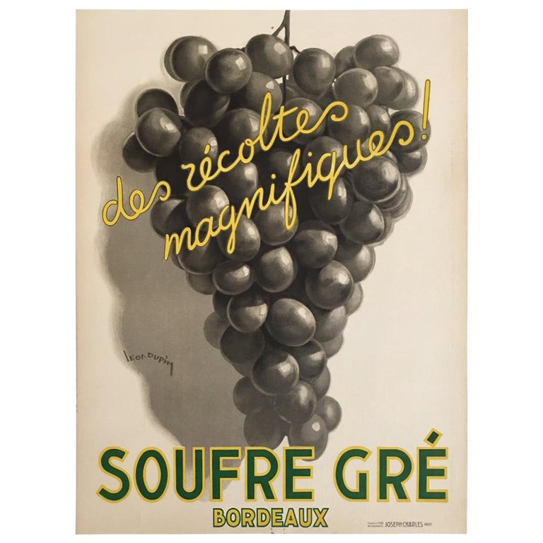 Original Vintage French Art Deco Wine Poster, Soufre Gre, 1933 by Leon Dupin For Sale