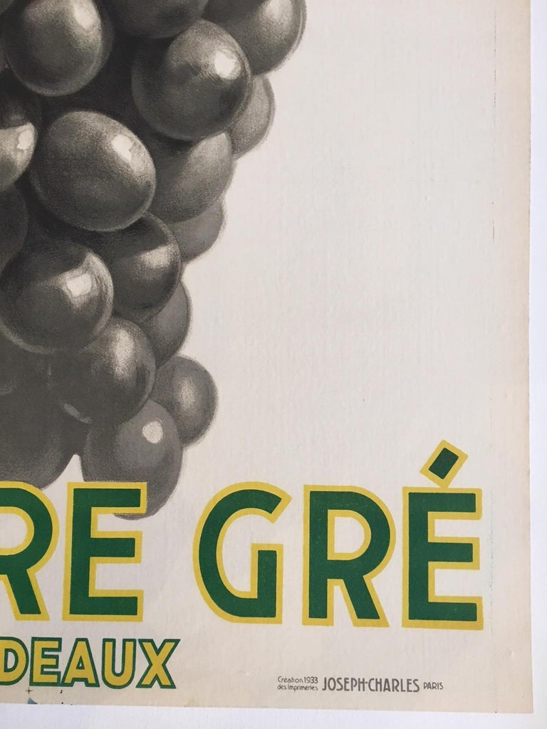 Original Vintage French Art Deco Wine Poster, Soufre Gre, 1933 by Leon Dupin For Sale 1