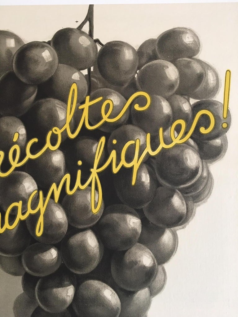 Original Vintage French Art Deco Wine Poster, Soufre Gre, 1933 by Leon Dupin For Sale 2