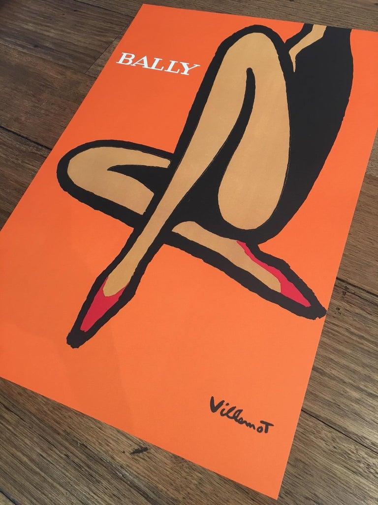 Original Vintage French Bally Shoes Orange Poster by Bernard Villemot, 1967 In Excellent Condition For Sale In Melbourne, Victoria