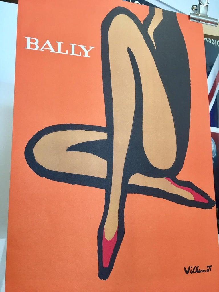 Modern Original Vintage French Bally Shoes Orange Poster by Bernard Villemot, 1967 For Sale