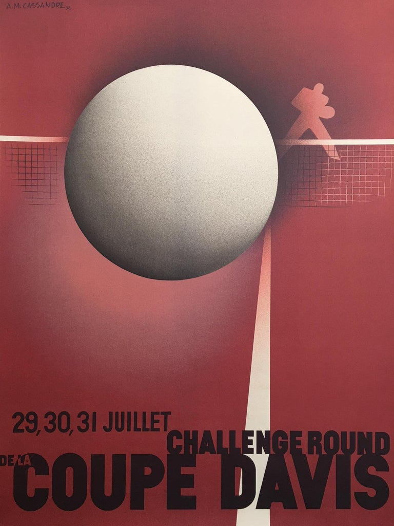 Original Cassandre Coupe Davis Tennis Davis Cup 1980 by the famous A.M. Cassandre   Artist  Cassandre   Year  1980  Dimensions:  91 x 69 cm  Condition: Good.