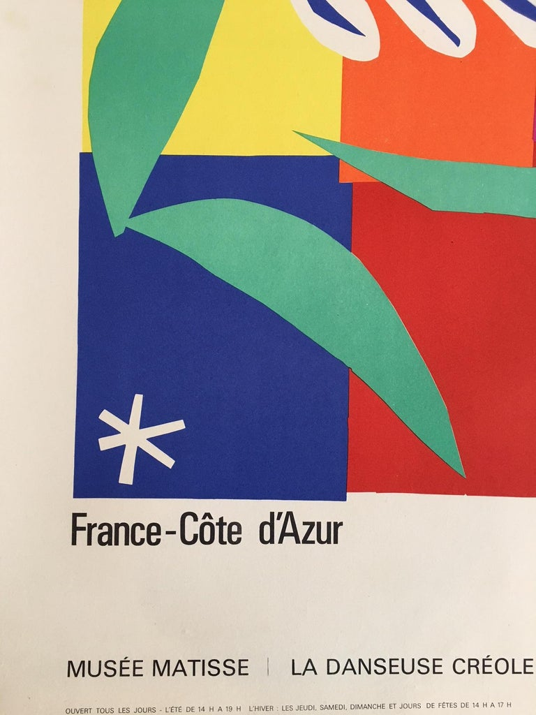 This colorful vintage poster was commissioned in the 1960s by the French government to promote tourism, featuring an original gouache painting by Matisse titled: La Danseuse Creole (or the Creole Dancer).  Artist:  (after) Henri Matisse  Year: