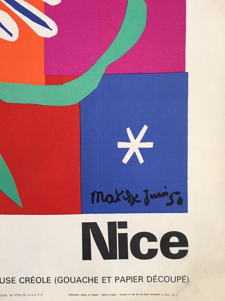 Modern Vintage French Art & Exhibition Poster after Henri Matisse, 1960s, Nice For Sale