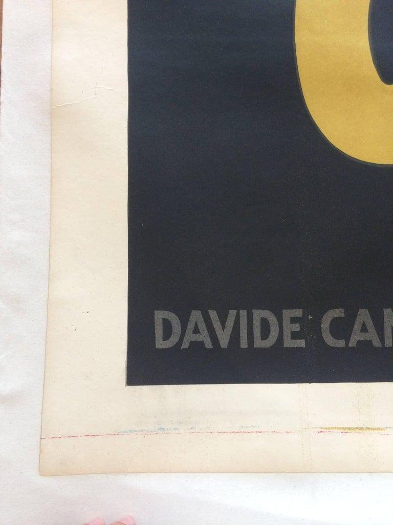 19th Century Original Vintage Poster Marcello Nizzoli Campari 1927 Linen Backed Lithograph For Sale