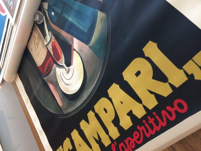 Art Deco Original Vintage Poster Marcello Nizzoli Campari 1927 Linen Backed Lithograph For Sale