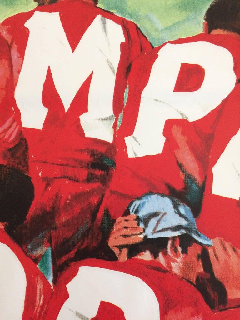 Original Vintage Poster Campari Soda Vince La Sete Football Soccer Pijoan In Excellent Condition For Sale In Melbourne, Victoria