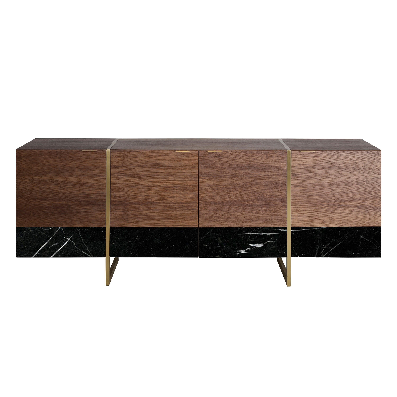 Stripe, Marble, Wood, Brass, Sideboard, Cabinet, Modern, 21 Century, Bespoke