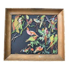 Parrot Bird Motif wooden multi color relief Painting gilt frame signed Sam Katz