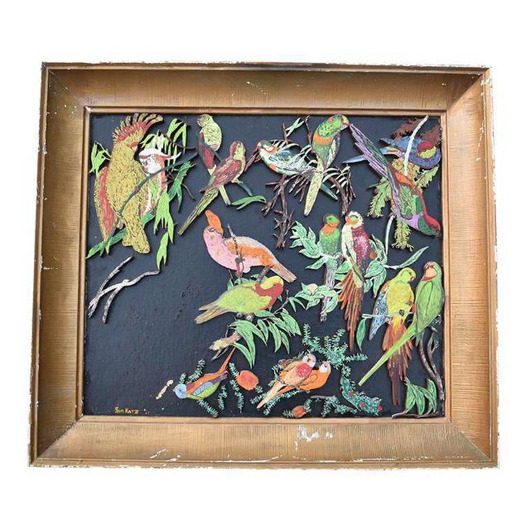 Parrot wooden multi color relief with gilt frame signed Sam Katz For Sale