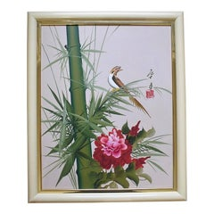 Hand-Painted Green Red Brown Chinoiserie Asian Floral Bird Painting