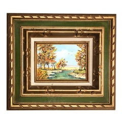 Giltwood Framed Oil Painting Quiet Stream with Green and Gold Border