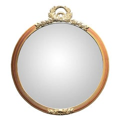 Giltwood Hand-Carved Gold Round Mirror French Napoleon Neoclassical with Crest